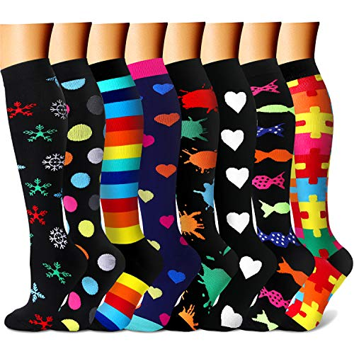 CHARMKING Compression Socks for Women & Men Circulation 15-20 mmHg is Best Graduated Athletic for Running, Flight Travel, Crossfit, Pregnant, Cycling - Boost Performance, Durability (S/M, Multi 23)