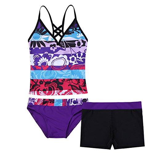 MSemis Traje de Baño para Niña Edad 4-16 Años Conjunto de Baño 3Pcs Bikini Bañador Camiseta Estampada Flores Vacaciones Playa Natación Morado 8 Años