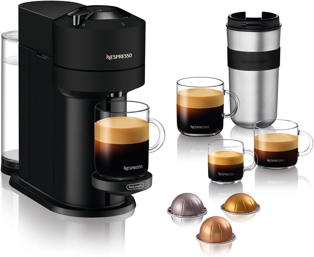 De'Longhi Nespresso Vertuo Next Máquina de Café y Espresso con WIFI y Bluetooth Integrados, Cafetera Automática de Cápsulas con Sistema de Preparación con un Solo Toque, ENV120.BM, Negro Mate