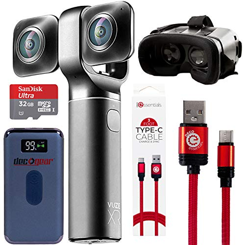 Vuze XR 4K 3D Dual VR 360 Camera with Deco Gear 4-Piece Virtual Reality Kit, 360-Degree Camera, Type-C Charge Sync Cable, 32GB Class 10 SD Memory Card, 8000 mAh Powerbank, VR Goggles (Black)