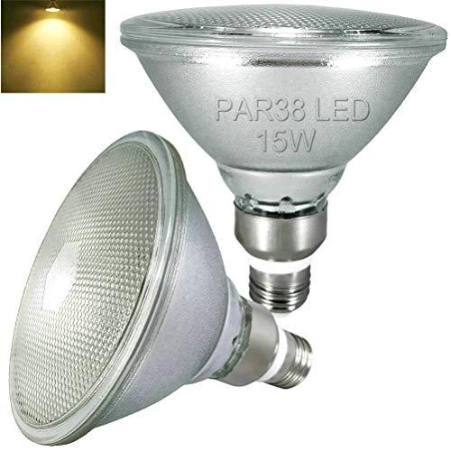 2er Pack,Glas Reflektor PAR38 LED warmweiss Lampen,asserdicht,2700K warmweiß,15W,E27,Nicht Dimmbar,Strahler Licht,Flutlicht Glühbirne,den Außen- und Innenbereich(Ersetzt 70W-120W Halogen/Glühlampe)