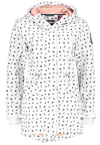 Sublevel Damen Softshell-Jacke Kurzmantel mit Kapuze & Print White XL