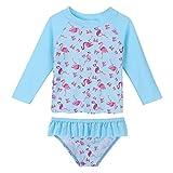 HUAANIUE Fille Enfant Maillot de Bain Deux-pièce Motif Floral Modèle de Pastèque Mignon Maillot de Bain Anti-UV 3 Mois-4 Ans (6-12 Mois(étiquette 12M), Bleu)