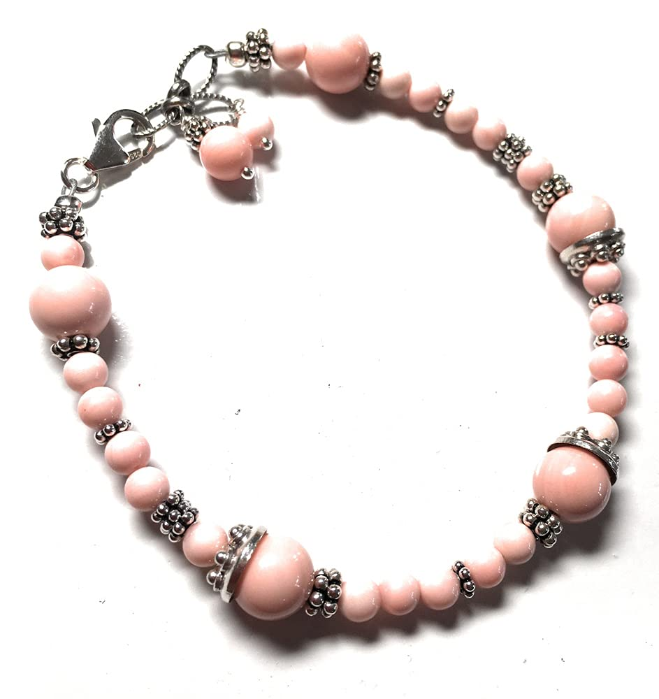 Pink Coral Bracelet Sterling Silver Beaded Stran Single Max 50% OFF Max 70% OFF Delicate