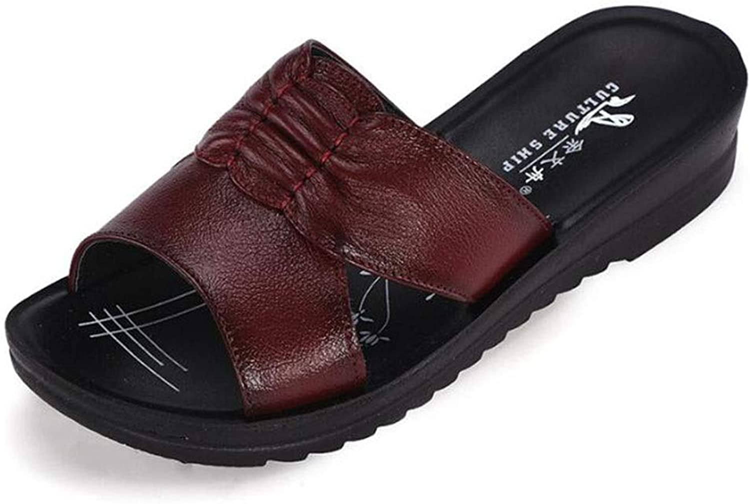 New Women's Sandal Leather Flat Slope with Non-Slip Women's Sandals Casual Large Size Mother Sandals and Slippers Middle-Aged Women's shoes (color   Red, Size   245)