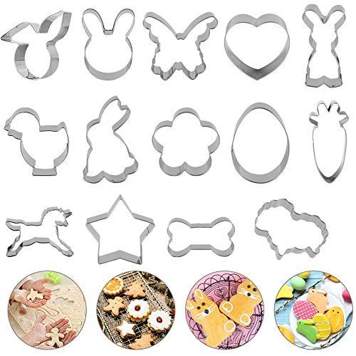 IZSUZEE Moldes Galletas, 14 Cortadores de Galletas de Acero para Animales, Moldes de Galletas de Carnaval Halloween...