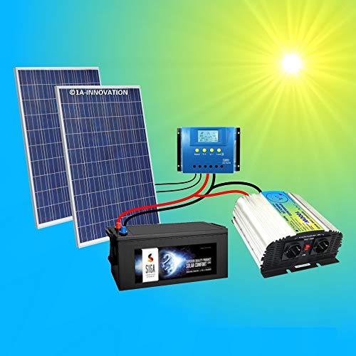 220 V 500 W Installation solaire certifié TÜV complète avec 280 Ah Batterie + 2 x 250 W Module solaire 500 W + 1000 W transformateur de tension + régulateur de charge solaire 30 A