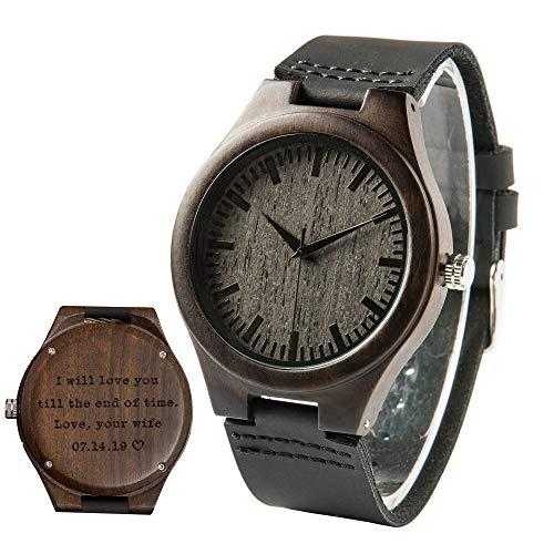 Holzuhr mit Gravur Ebenholz Holzuhren Persönliche Geschenke Armbanduhr Herren Geschenke zum Jahrestag Geburtstagsgeschenke für Ehemann