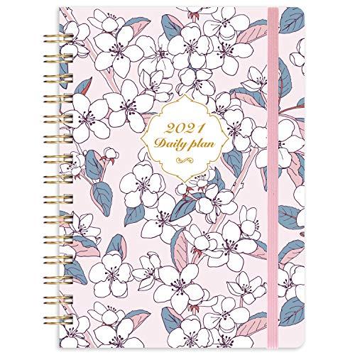 Eono by Amazon - Kalender 2021 A5, Terminplaner Terminkalender 2021, Terminplaner mit Zwei Aufkleber, Monatlichen Tabs und Erweiterbarer Innentasche, Lavendel, 21,5 x 15,5 x 1,5 cm