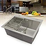OUKANING fregadero/fregadero empotrado fregadero acero inoxidable fregadero de cocina plaza con escurridor y residuos