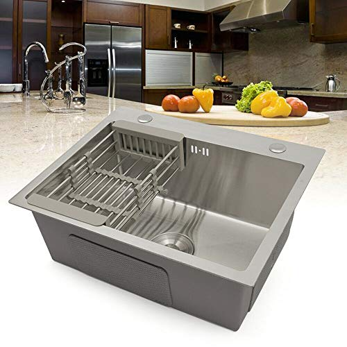 Fregadero de cocina de acero inoxidable – Lavabo empotrable con escurreador, 1 seno con escurridor, 0,7 mm de grosor (55 x 45 x 22 cm)