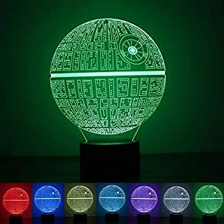 FANPING 3D LED luz de la Noche, Escritorio Regalos Star Wars Estrella de la Muerte de Habitaciones lámpara decoración del hogar Multi 7 Carga de Color del botón LED Dormitorio lámpara de Tabla Ligera