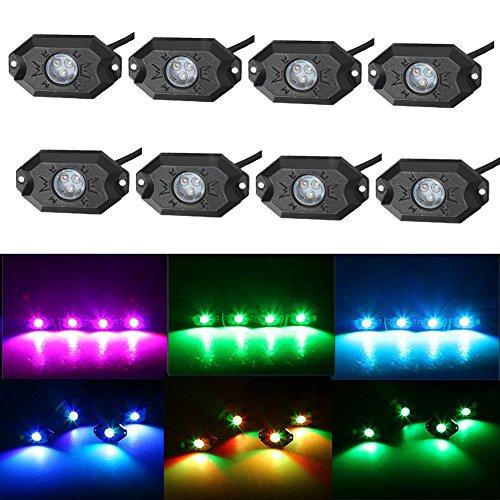 RGB LEDロックライトBluetoothコントロール、LED RGBプロジェクタワークライト、モバイル接続、シンプルファッション、DIY効果 - 8ポッドマルチカラー