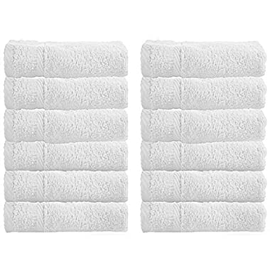 Luxury Hotel Washcloths, 100% Circlet Egyptian Cotton, White Washcloth Set of 12