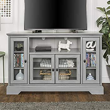 Walker Edison Furniture Traditional Wood Stand for TV s up to 56  Living Room Storage Grey