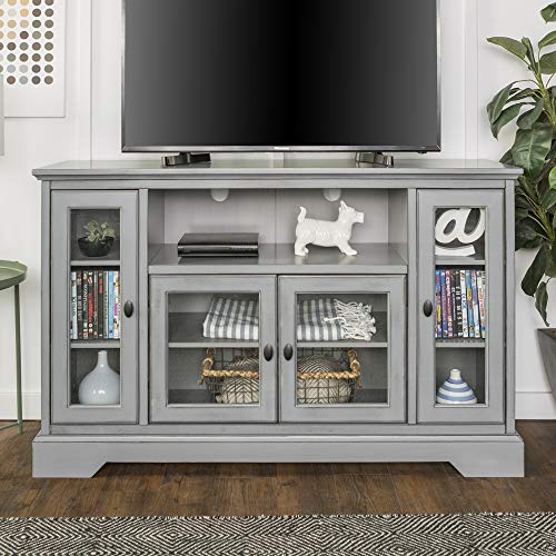 WE Furniture Traditional Wood Stand for TV's up to 56' Living Room Storage, Grey