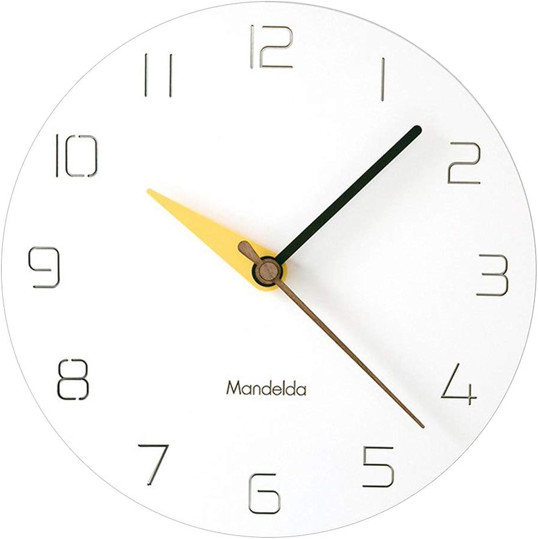 MagiDeal 12'' Modern Style Wood PVC Wall Clock Battery Operated Silent Non-Ticking Wall Clock Quartz Decorative Clock - A Yellow, 290X25mm