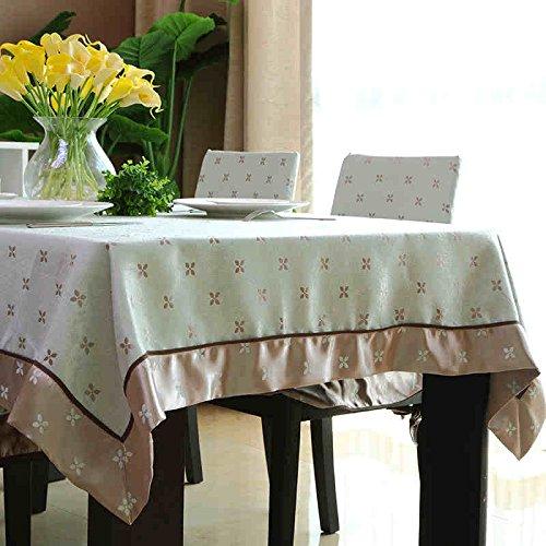 uus Nappe en coton naturel table de thé style moderne table de thé nouvelle paille chinoise classique de fleurs et d'oiseaux jacquard (Couleur : B, taille : 140 * 140cm)