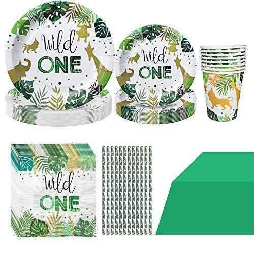 Formemory Vajilla de cartón de 61 piezas con diseño de animales salvajes para 10 niños, vajilla de cumpleaños para niños y niñas