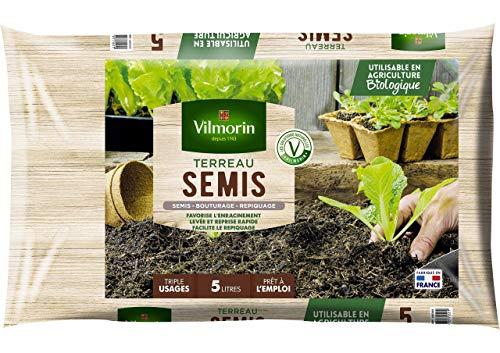 Vilmorin - Terreau semis bouturage - Triple usages - Prêt à lemploi - 5 L - 1,5 Kg