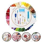 Mengger Kits de bordado magico Inicio madejas punto cruz Herramientas completo nacimiento principiantes 50 Colores Hilo bordar Bordado de bambú Agujas aguja mágica punzonado