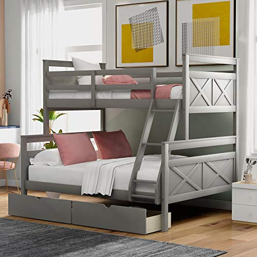 Bunk Bed, Twin Over Full Solid Wood Bunk Bed Frame with Storage for Kids and Teenagers, Grey