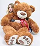 Giant Teddy Bear with Red Satin Neck Ribbon - Huge 5-Foot Extra-Soft Jumbo Plush Teddybear - Gigantic Stuffed Animal - Oso de Peluche - Cute Oversized Plushie - Jumbo Bear to Show You Care - Big Plush