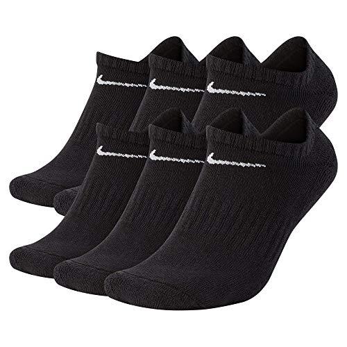 Nike Everyday Cushion No Show Socks, Unisex Nike Socks, Black/White, L (Pack of 6 Pairs of Socks)