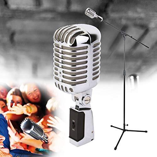 NJS Mikrofonständer aus Stahl, höhenverstellbar, für Karaoke-Gesang mit verchromtem Mikrofon, Retro-Stil, 50er Jahre + Kabel 6 m