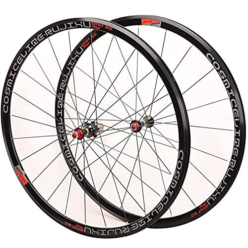 LSRRYD Ciclismo Ruedas Juego Ruedas Bicicleta 700C para Bicicleta Carretera Llantas Aleación Doble Pared V- Freno 8-11 Velocidad Centro Tarjetas 6 Rodamientos Sellados QR 1585g (Color : Black hub)