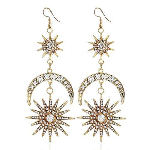 XAFXAL Pendientes De Mujer/Women Long Drop Earrings Crystal Rhinestone Moon Sun Vintage Dangle Earring Lady Girl Jewelry Gift Gold