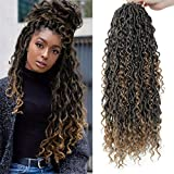 NEW Goddess Locs Crochet Hair River Fauxs Locs 18Inch Pre Looped Synthetic Deep Curly Hairstyle Ombre Fauxlocs Crochet Braids Extensions 4Packs(1B/27, 18inch)