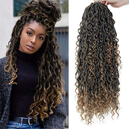 NEW Goddess Locs Crochet Hair River Fauxs Locs 18Inch Pre Looped Synthetic Deep Curly Hairstyle Ombre Fauxlocs Crochet Braids Extensions (4packs 1B/27)