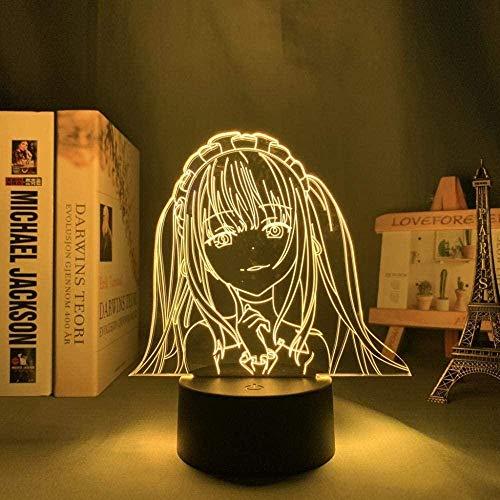 Lámpara 3D de noche con diseño de anime, lámpara 3D, luz nocturna LED para decoración de habitaciones, cumpleaños, manga, fecha, luz de neón viva, ZMSY
