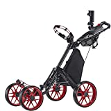 Caddytek 1 Poussette à 4 Roues Pliable, Version 3, voiturette de Golf WK-UK-CP-CC-1-DG (Red) …
