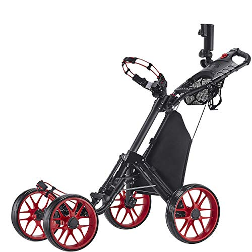CaddyTek One-Click Folding 4-Rad Version 3 Golf Push Cart (Red)