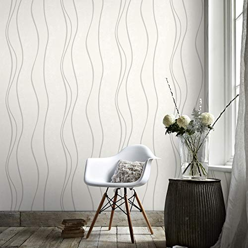 Superfresco Elan - Papel pintado con textura y rayas onduladas, color blanco y plateado