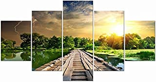 Wieco Art Quiet Life Large 5 Panels Modern Gallery Wrapped Giclee Canvas Print Artwork Landscape Green Pictures Paintings on Canvas Wall Art Ready to Hang for Dining Room Kitchen Home Decor L