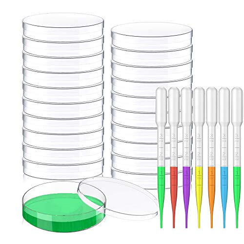 Petri Dishes with Lids 20Pack- 90mm x 15mm Sterile Plastic Petri Dish Set with 10pack 3ml Plastic Transfer Pipettes