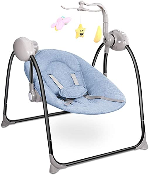ZXZV B By Electric Rocking Chair Intelligent Child Remote Control Multi Function Cradle Folding Stable High Chair Suitable For 0 3 Years Old Color Blue Size 88x75cm