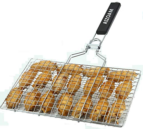 AIZOAM Portable Stainless Steel BBQ Grilling Basket