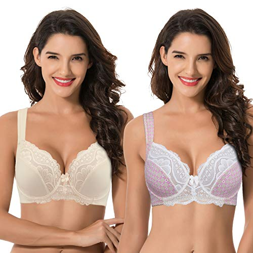 Curve Muse Plus Size Unlined Underwire Lace Bra with Padded Shoulder Straps-Nude, Nude Print Fushia- Size:48DDD