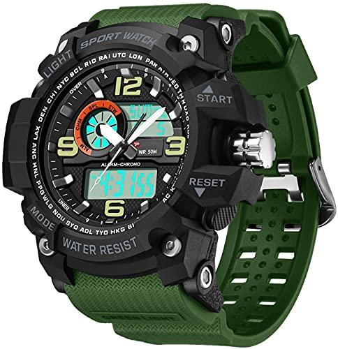 Reloj Deportivo, Relojes Deportivos a Prueba de Agua de 50 m para Hombres, Reloj Inteligente Deportivo Luminoso para Hombre, Reloj de Pulsera de Calendario de cronómetro 12H / 24H (Verde)