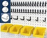 WallPeg 43 Pc. Peg Board Storage System - Pegboard Hook Assortment Organizer Bins Y/B # AM 302- 2