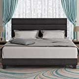 Amolife Upholstered King Size Bed Frame with Headboard/Platform Bed Frame with Strong Wood Slat Support/Mattress Foundation No Box Spring Needed, Dark Grey