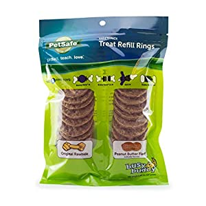 PetSafe Natural Rawhide Rings – Dog Toy Treat Ring Refills for Busy Buddy Dog Toys – Peanut Butter and Original Variety Pack – Medium, Size B – 24 Rings