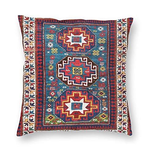 Meius Kazak Teppich, Samt, weich, dekorativ, quadratisch, Kissenbezug für Wohnzimmer, Sofa, Schlafzimmer, mit unsichtbarem Reißverschluss, 50,8 x 50,8 cm