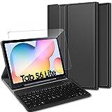 ELTD Español diseño Teclado Funda [con la tecla (ñ)] + película templada para Samgsung Galaxy Tab s6 Lite 10.4, Funda con Desmontable Wireless Teclado para Samgsung Galaxy Tab s6 Lite, (3 en 1)
