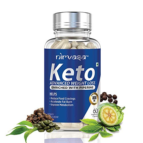 Nirvasa Keto Advanced Weight Management Capsules for Men & Women with Garcinia Cambogia, Green Tea Extract and Piperine – 60 Vegetarian Capsules, Pack of 1