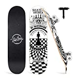 BELEEV Skateboard for Kids Teens Adults, 31 inch Complete Standard Skateboards for Beginners Girls Boys, 9 Layer Maple Double Kick Deck Concave Cruiser Trick Skateboard (White)